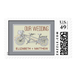 Tandem Bicycle Couple's Bridal Shower Stamp