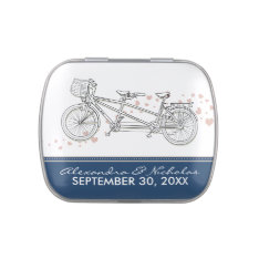 Tandem Bicycle Custom Wedding Favor Tins (navy) Candy Tins at Zazzle