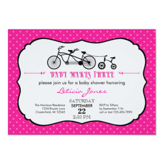 "Tandem Bicycle Girl Baby Shower Invitation 5"" X 7"" Invitation Card"