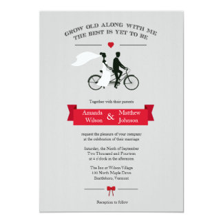 Tandem Bicycle Grey and Red Wedding Invitations
