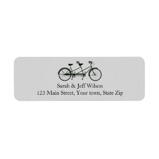 Tandem Bicycle Grey Return Address Labels