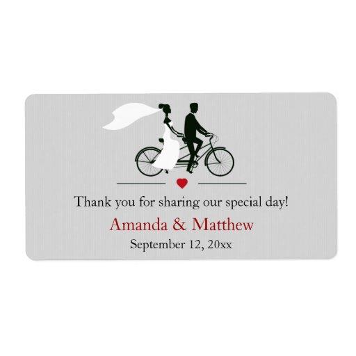 Tandem Bicycle Grey Wedding Favor Labels