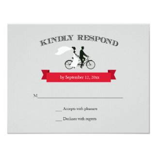 Tandem Bicycle Grey Wedding RSVP 4.25x5.5 Paper Invitation Card