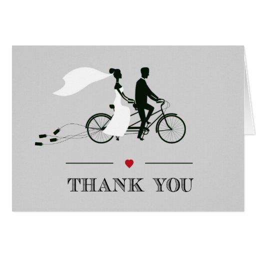 Tandem Bicycle Grey Wedding Thank You Card