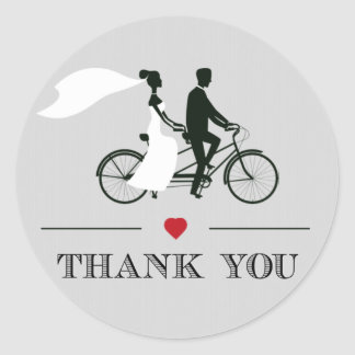 Tandem Bicycle Grey Wedding Thank You Stickers