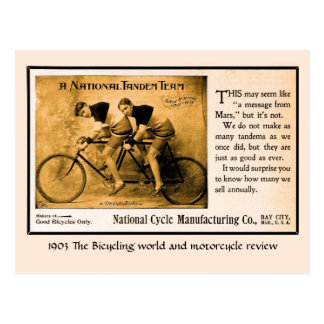 Tandem bicycle history US. national team vintage Postcard