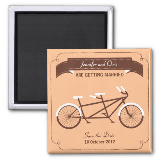 Tandem Bicycle Modern Beige Save the Date Magnet