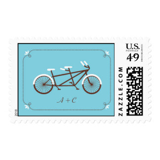 Tandem Bicycle Modern Wedding Blue Save the Date Postage