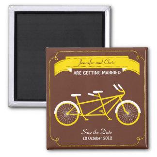 Tandem Bicycle Modern Wedding Brown Save the Date Magnet