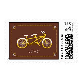 Tandem Bicycle Modern Wedding Brown Save the Date Postage