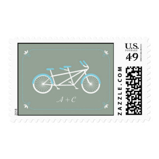 Tandem Bicycle Modern Wedding Grey Save the Date Postage