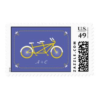 Tandem Bicycle Modern Wedding Purple Save the Date Postage