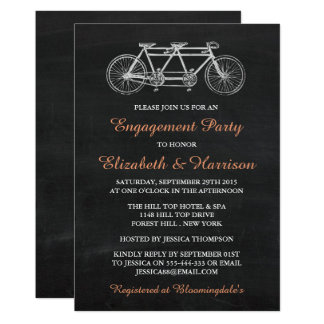 Tandem Bicycle On Chalkboard Enagement Party Card