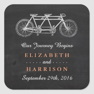 Tandem Bicycle On Chalkboard Wedding Favor Square Sticker