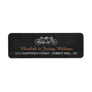 Tandem Bicycle On Chalkboard Wedding Label