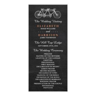 Tandem Bicycle On Chalkboard Wedding Program
