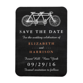 Tandem Bicycle On Chalkboard Wedding Save The Date Magnet