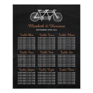 Tandem Bicycle On Chalkboard Wedding Seating Chart