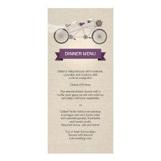 Tandem Bicycle Plum Wedding Menu Faux Linen Custom Rack Card