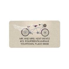 Tandem Bicycle Plum Wedding Return Address Personalized Address Label