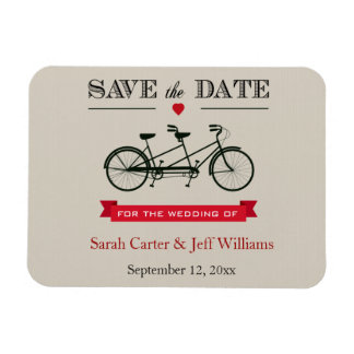 Tandem Bicycle Red and Taupe Save the Date Magnets