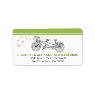 Tandem Bicycle Return Address Labels (lime)
