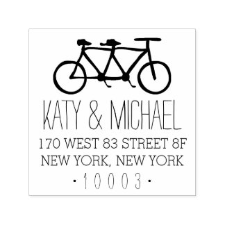 Tandem Bicycle Return Address Stamp