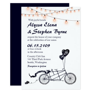 Tandem Bicycle Romantic Casual Wedding Invitation