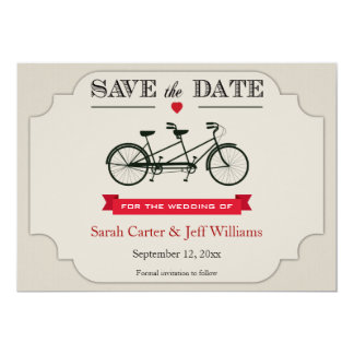 Tandem Bicycle Save the Date Cards Personalized Invitation
