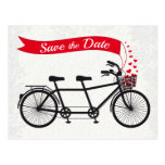 Tandem Bicycle Save the Date Hearts Postcard