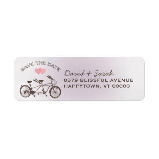 Tandem Bicycle Save The Date Label Return Address Label