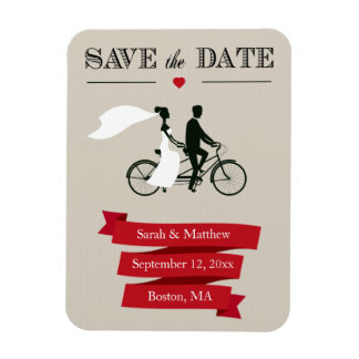 Tandem Bicycle Save the Date Magnets