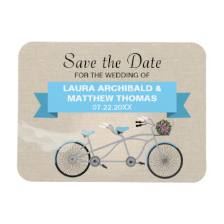 Tandem Bicycle Save the Date Rectangular Photo Magnet