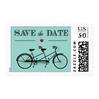 Tandem Bicycle Save the Date Stamps