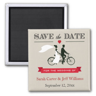 Tandem Bicycle Taupe and Red Save the Date Magnets