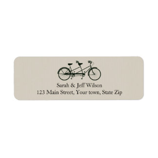 Tandem Bicycle Taupe Return Address Labels