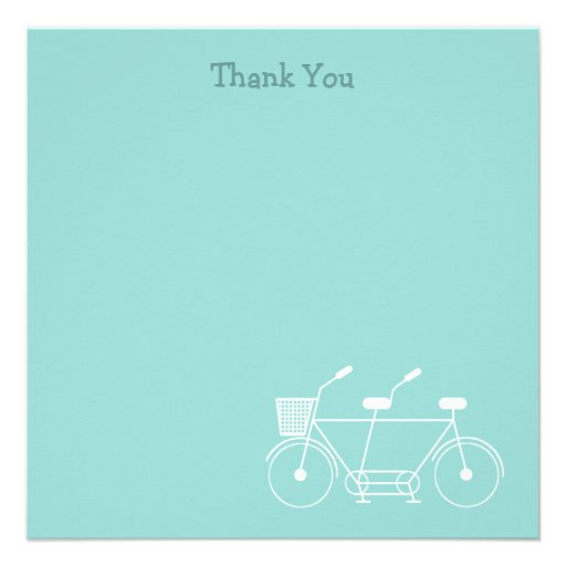 Tandem Bicycle Thank You Custom Invitations