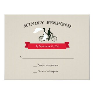 Tandem Bicycle Vintage Wedding RSVP 4.25x5.5 Paper Invitation Card