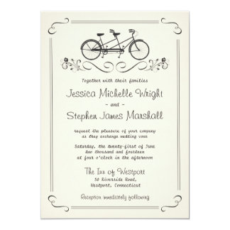 "Tandem Bicycle Vintage White Wedding 5"" X 7"" Invitation Card"