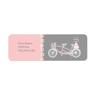 Tandem Bicycle Wedding Address Label