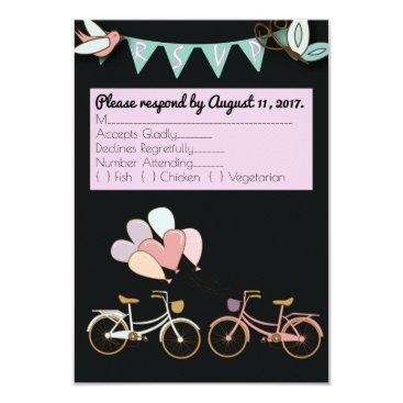 muddymomdesigns Tandem Bicycle Wedding Customizable RSVP card