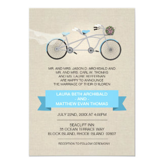 Tandem Bicycle Wedding Faux Linen 5x7 Paper Invitation Card