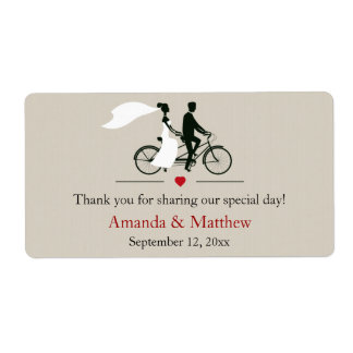 Tandem Bicycle Wedding Favor Labels
