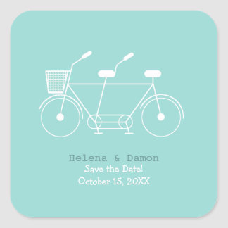 Tandem Bicycle Wedding Favor Square Sticker