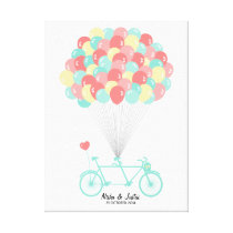 Tandem Bicycle Wedding Guestbook on Canvas