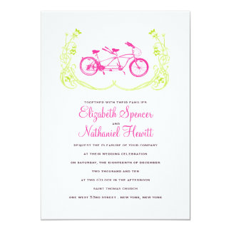 Tandem Bicycle Wedding Invitation Pink Green