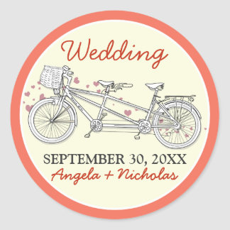 Tandem Bicycle Wedding Invitation Seal (coral)