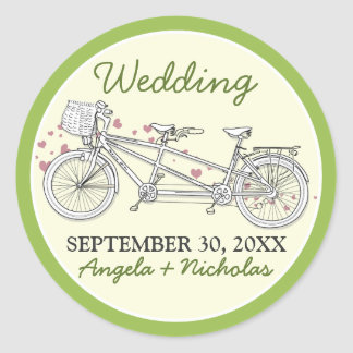 Tandem Bicycle Wedding Invitation Seal (lime)