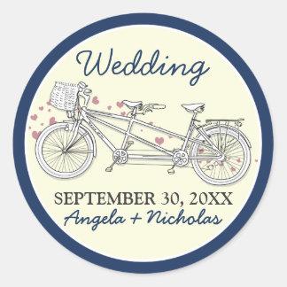 Tandem Bicycle Wedding Invitation Seal (navy) Round Stickers