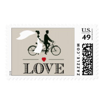 Tandem Bicycle Wedding Love Stamps